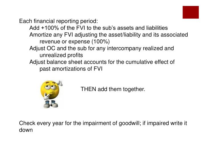 Each financial reporting period: