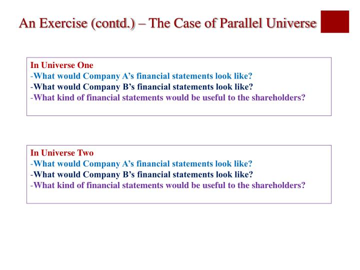 An Exercise (contd.) – The Case of Parallel Universe