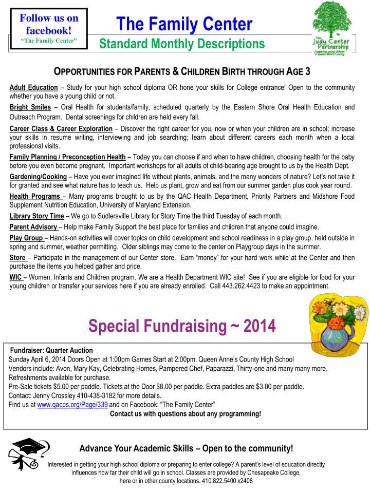 Special Fundraising ~ 2014
