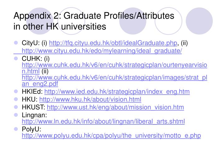 Appendix 2: Graduate Profiles/Attributes