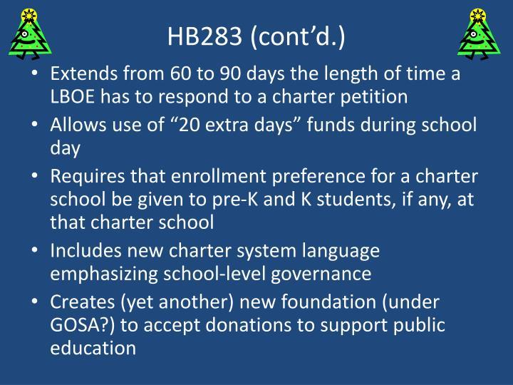 HB283 (cont'd.)