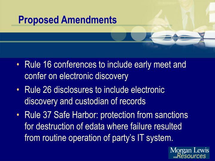 Proposed Amendments