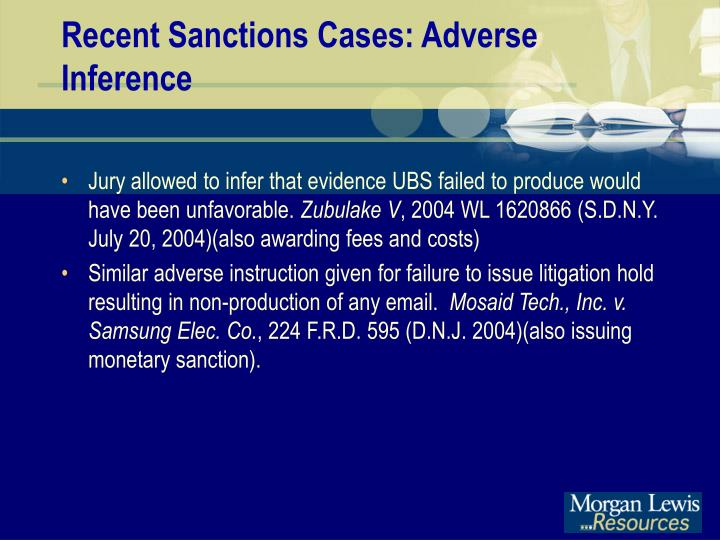 Recent Sanctions Cases: Adverse Inference