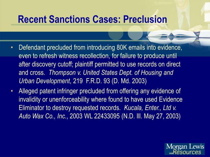 Recent Sanctions Cases: Preclusion