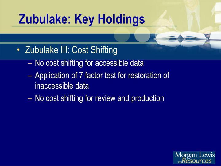 Zubulake: Key Holdings