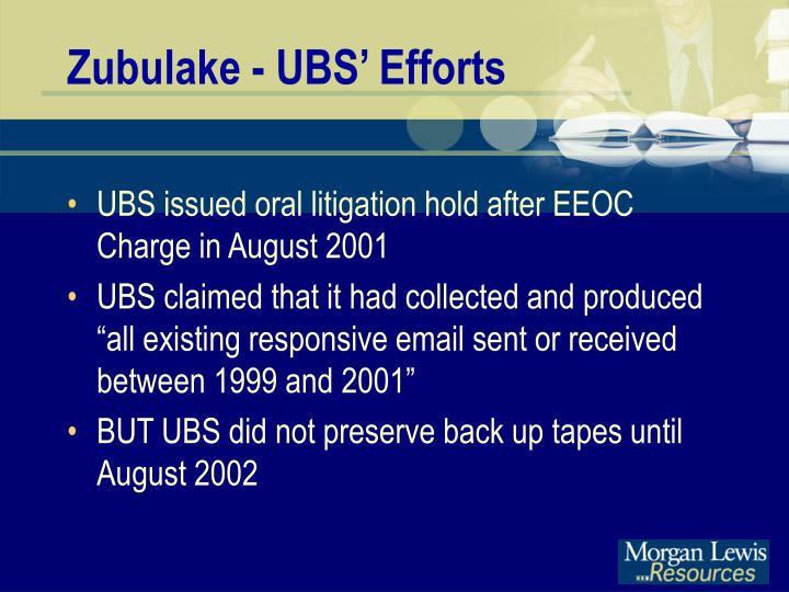 Zubulake - UBS' Efforts