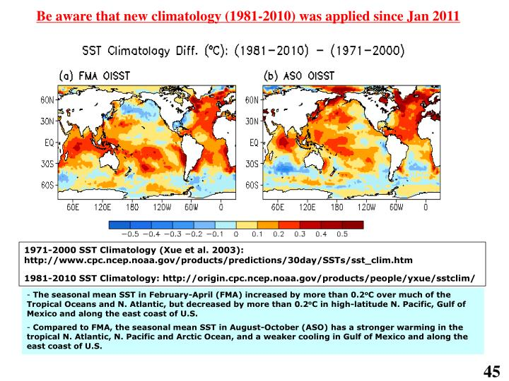 Be aware that new climatology (1981-2010) was applied since Jan 2011