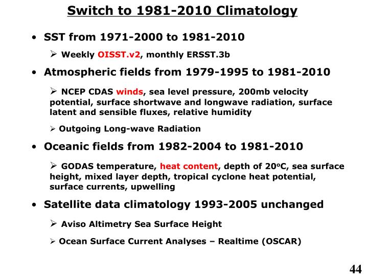 Switch to 1981-2010 Climatology