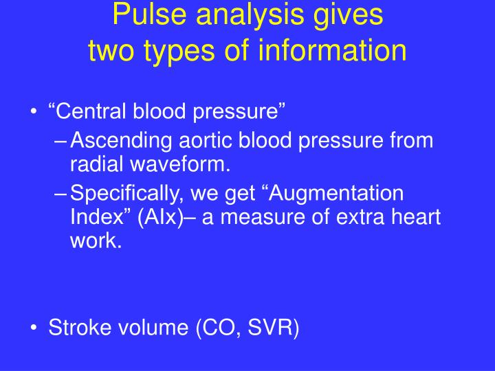Pulse analysis gives