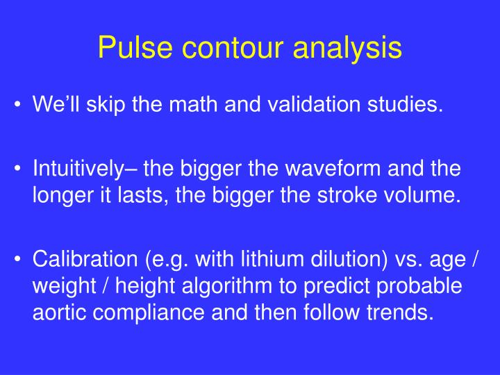 Pulse contour analysis