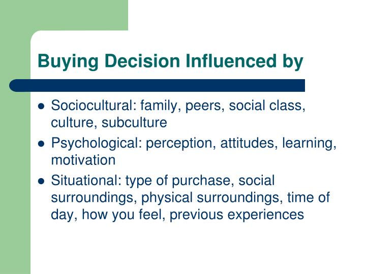 Buying Decision Influenced by