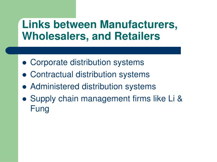 Links between Manufacturers, Wholesalers, and Retailers