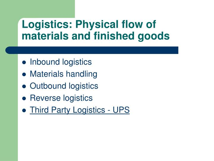Logistics: Physical flow of materials and finished goods