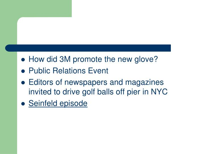 How did 3M promote the new glove?