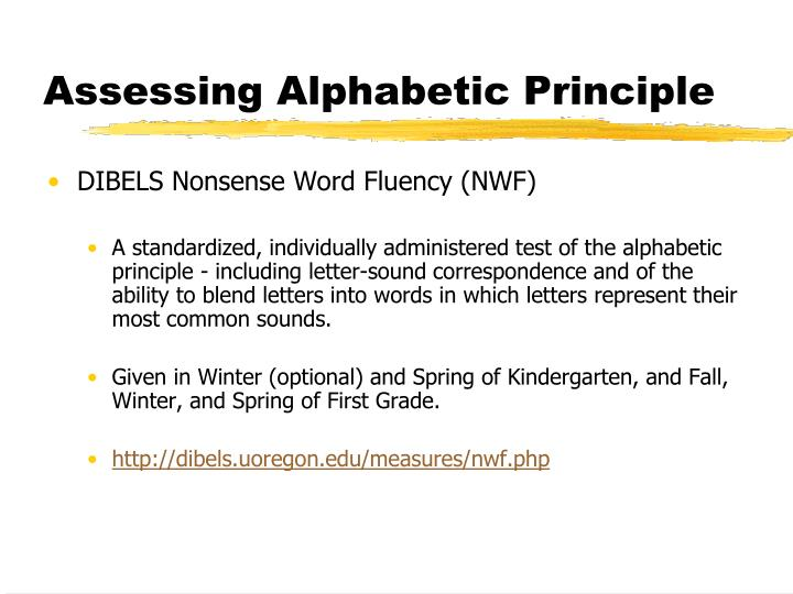 Assessing Alphabetic Principle