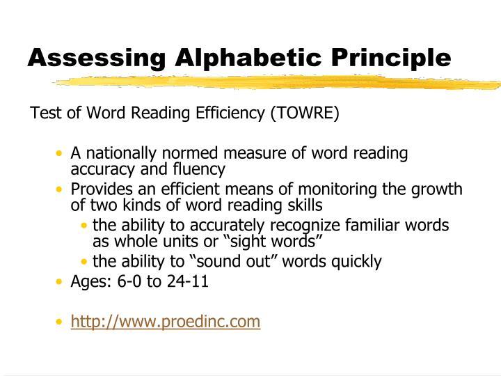 Assessing Alphabetic Principle