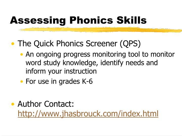 Assessing Phonics Skills