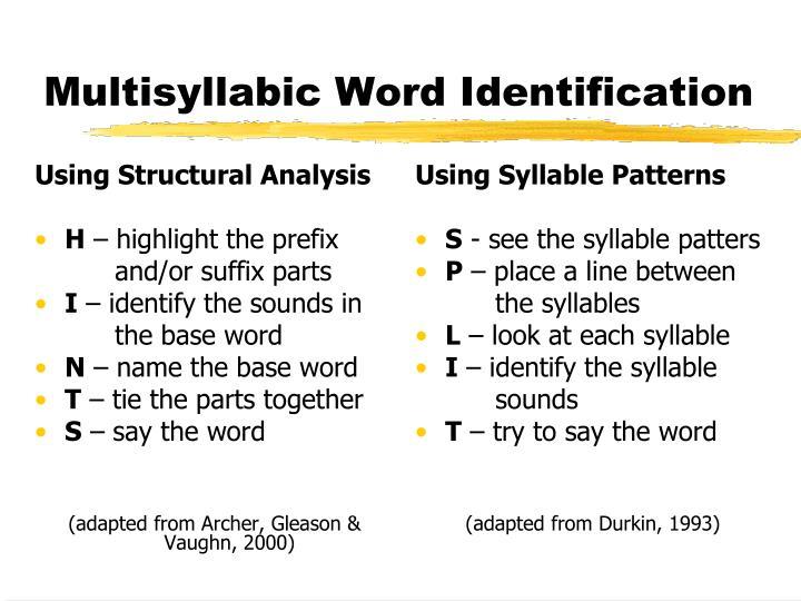 Using Syllable Patterns