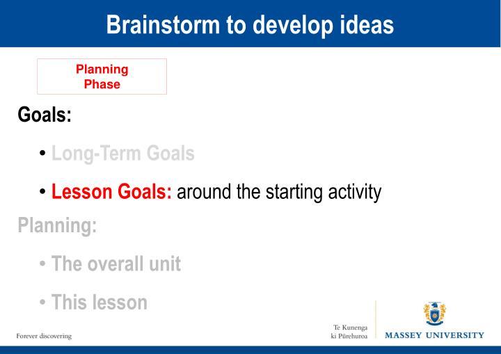 Brainstorm to develop ideas