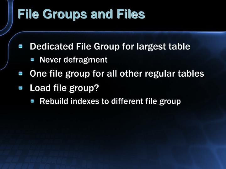 File Groups and Files
