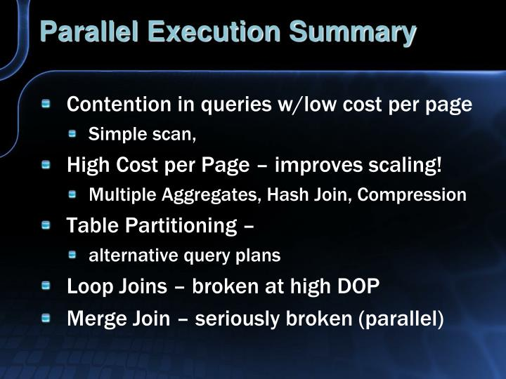 Parallel Execution Summary