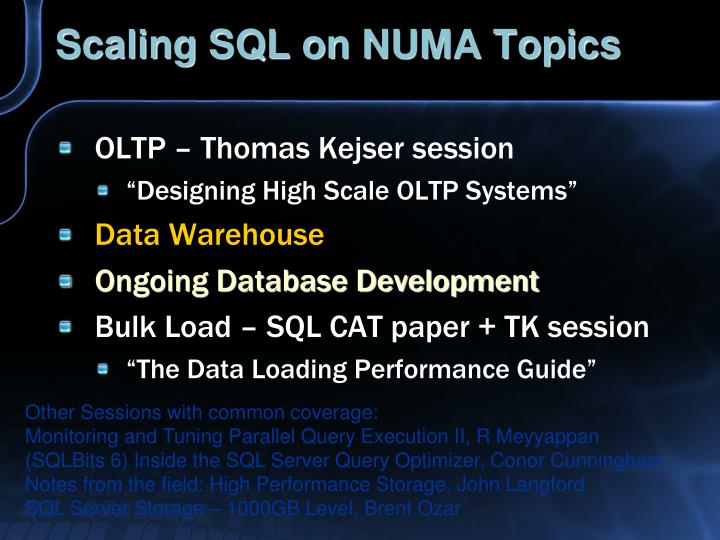 Scaling sql on numa topics