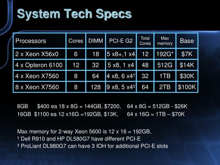 System Tech Specs