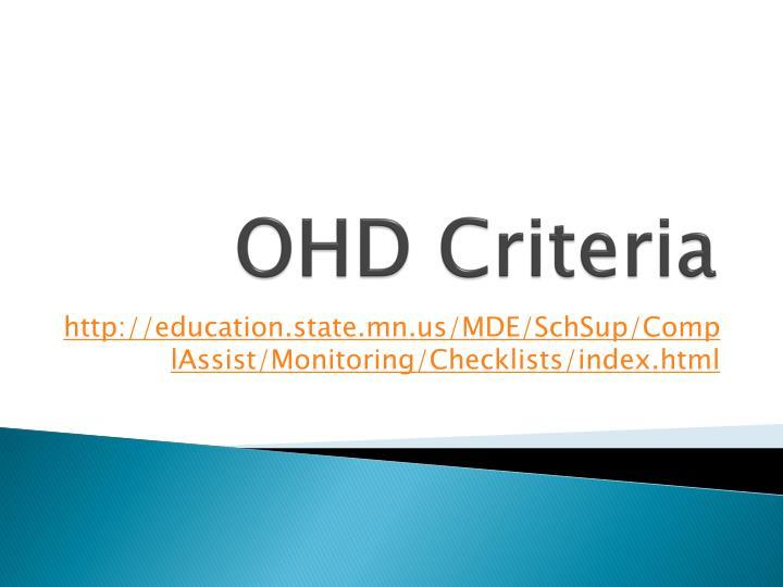 OHD Criteria