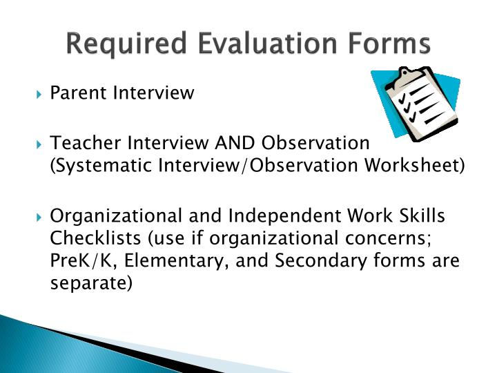 Required Evaluation Forms