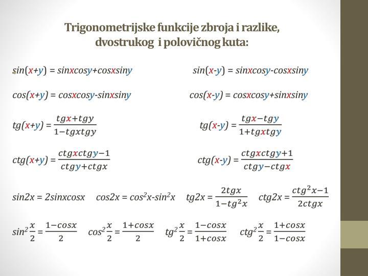 Trigonometrijske funkcije zbroja i razlike,