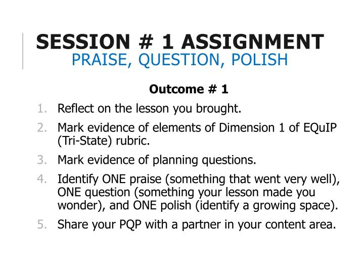 Session # 1 Assignment