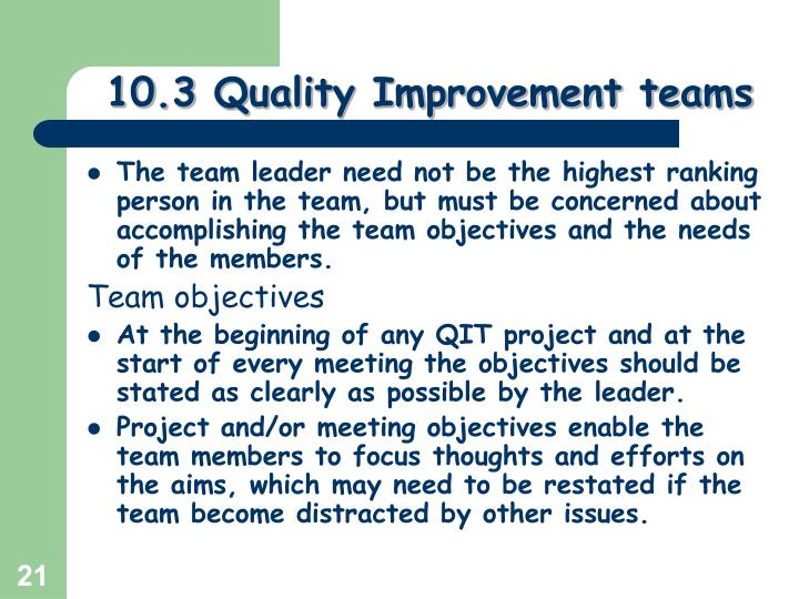 10.3 Quality Improvement teams
