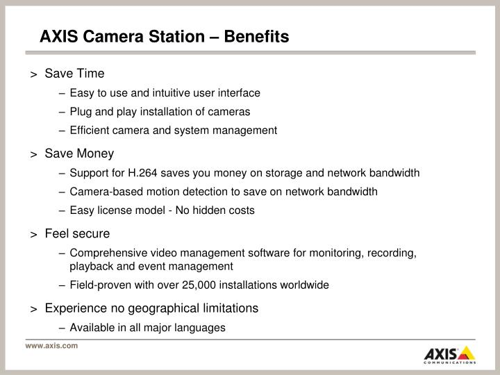 AXIS Camera Station – Benefits