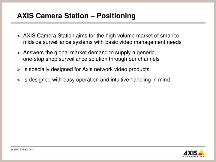 AXIS Camera Station – Positioning
