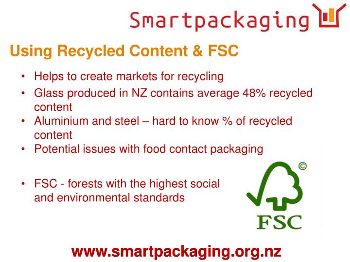 Using Recycled Content & FSC