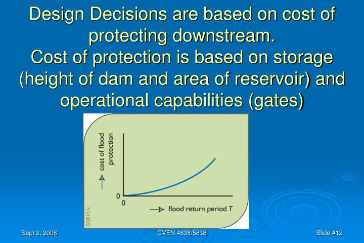 Design Decisions are based on cost of protecting downstream.