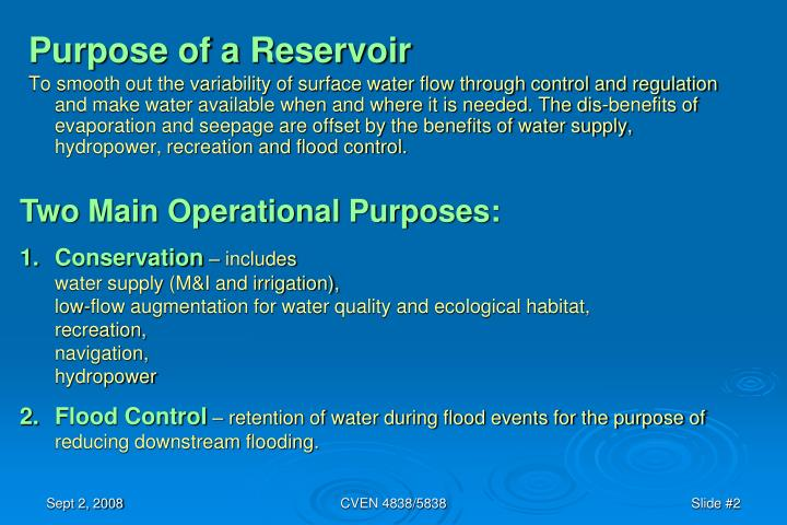 Purpose of a Reservoir