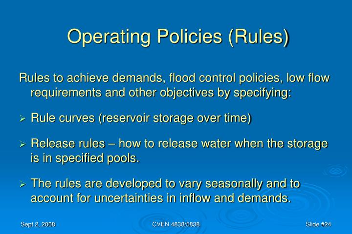 Operating Policies (Rules)