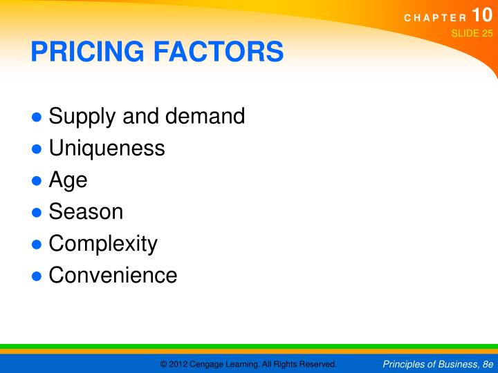 PRICING FACTORS