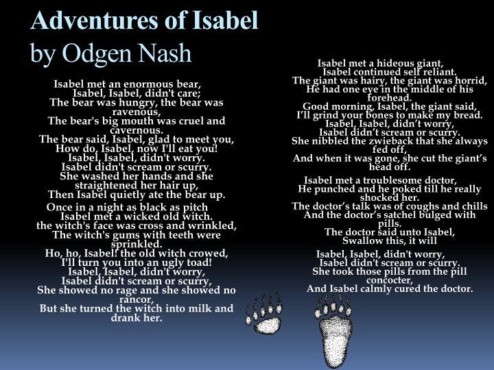 Isabel met a hideous giant,