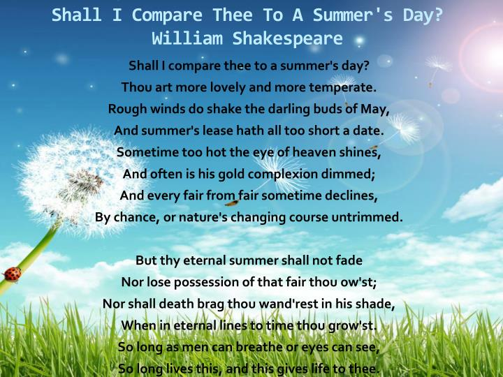 Shall I Compare Thee To A Summer's Day?