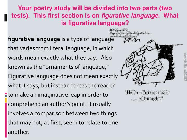 Your poetry study will be divided into two parts (two tests).  This first section is on