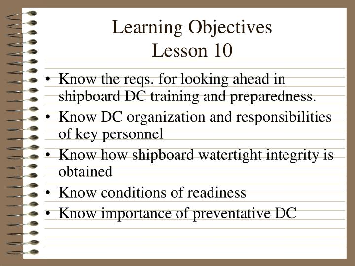 Learning objectives lesson 10
