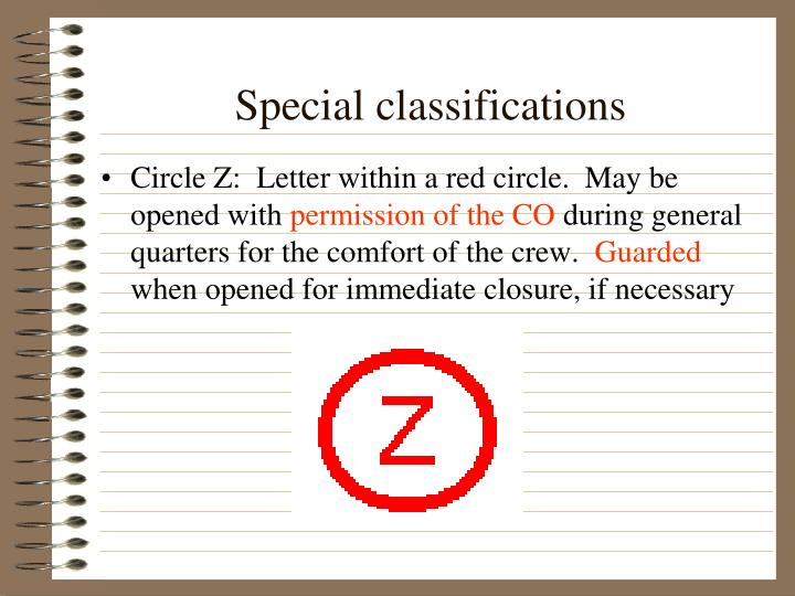 Special classifications
