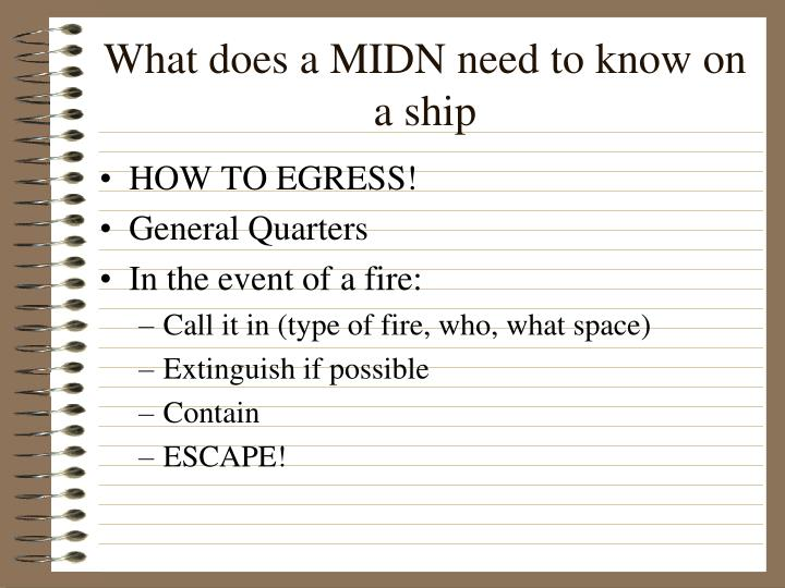 What does a MIDN need to know on a ship