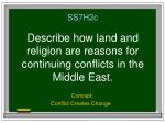 ss7h2c describe how land and religion are reasons for continuing conflicts in the middle east