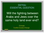 ss7h2c essential question will the fighting between arabs and jews over the same holy land ever end