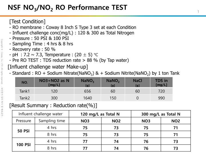 Nsf no 3 no 2 ro performance test