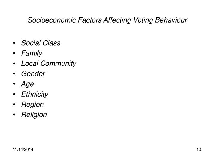 Socioeconomic Factors Affecting Voting Behaviour