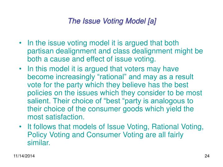 The Issue Voting Model [a]